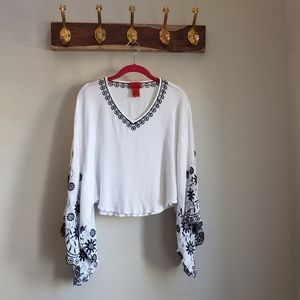 V Cristina Top with Embroidered Bell Sleeves